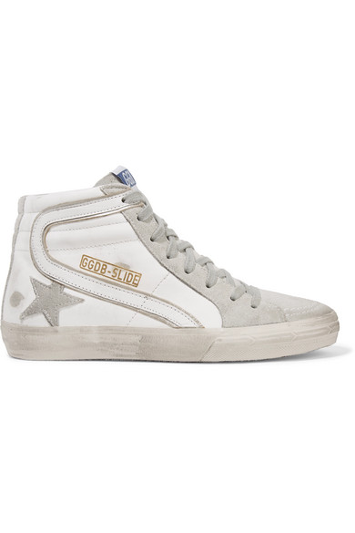 94f4c363f25a Golden Goose - Slide Distressed Leather And Suede High-top Sneakers - White