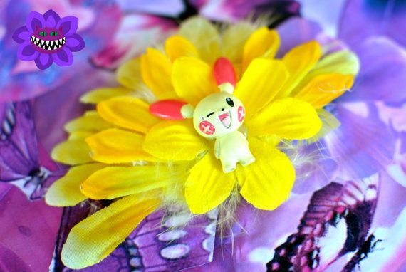 yellow plusle inspired pokemon fascinator by AlicesCheshireCat, $20.00