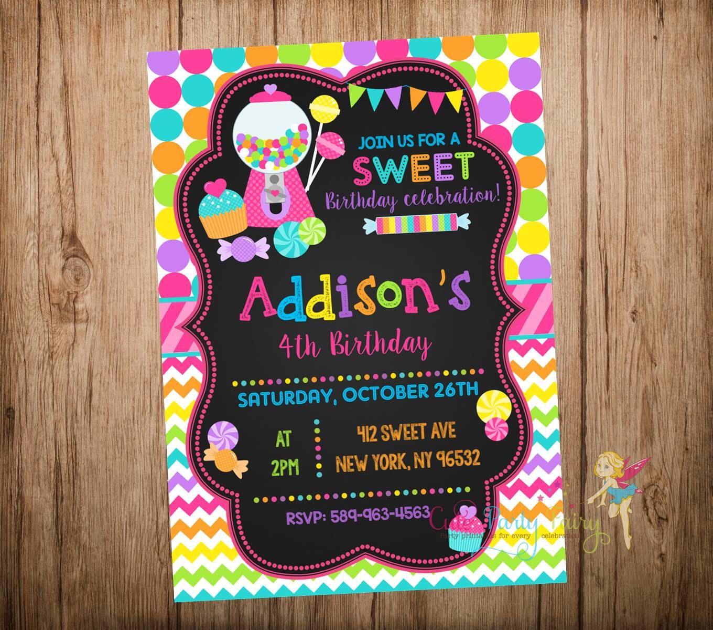 Candyland Birthday Invitation Chalkboard