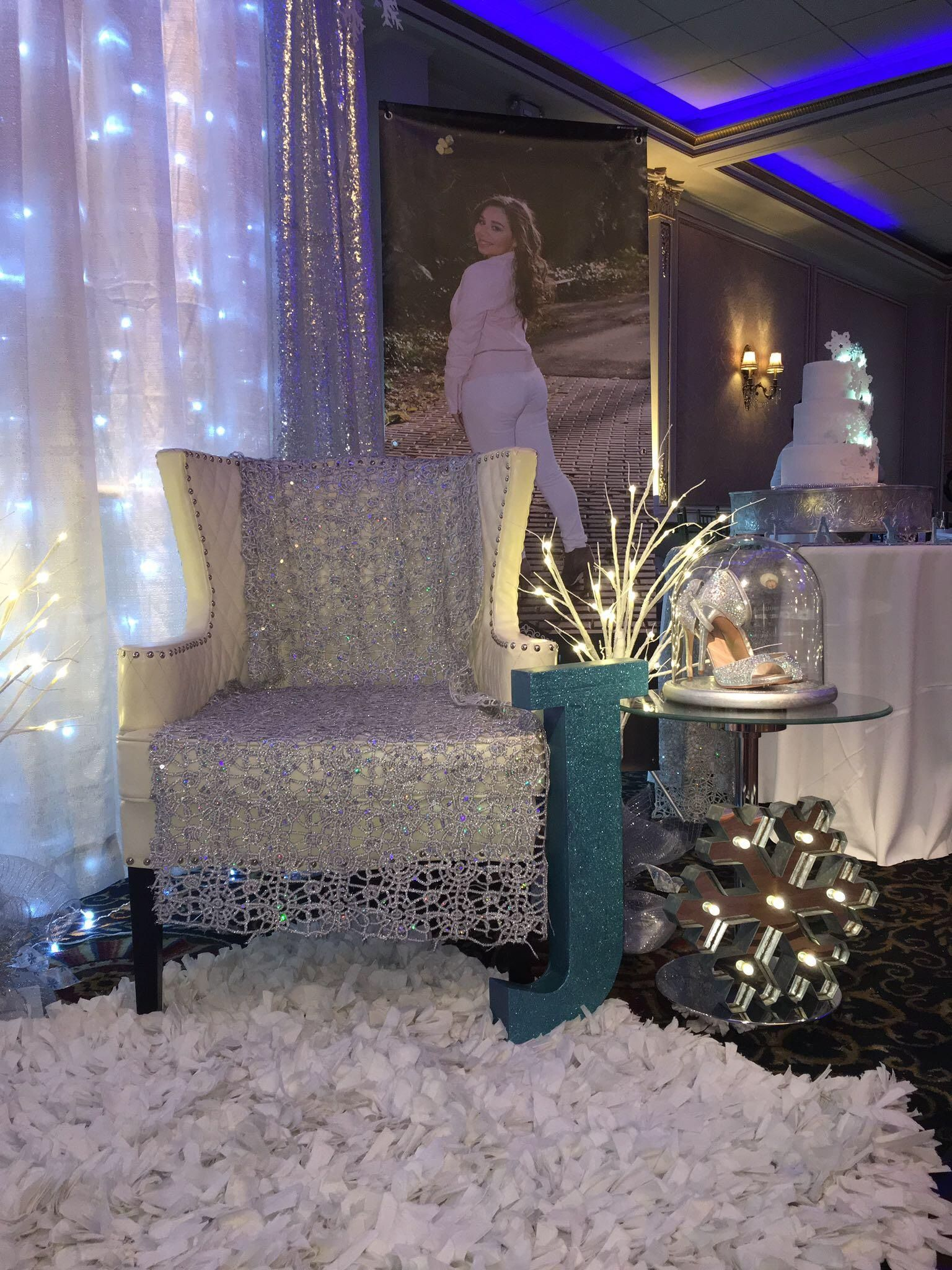 change of shoes ceremony - winter wonderland sweet 16 | sweet 16