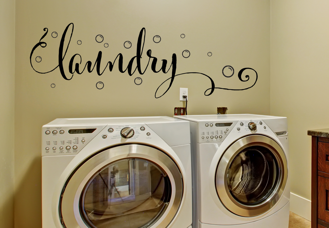 Laundry Wall Decor Laundry Room Vinyl Wall Decal Large Vinyl Wall Decor 16X46  For