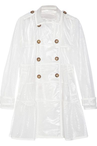 Clear-coated ivory lightweight point d'esprit  Buttoned epaulettes, cuff tabs, ruched panels, pleated back, welt pockets, ivory twill trims  Button fastenings along double-breasted front 78% polyamide, 22% polyester Hand wash