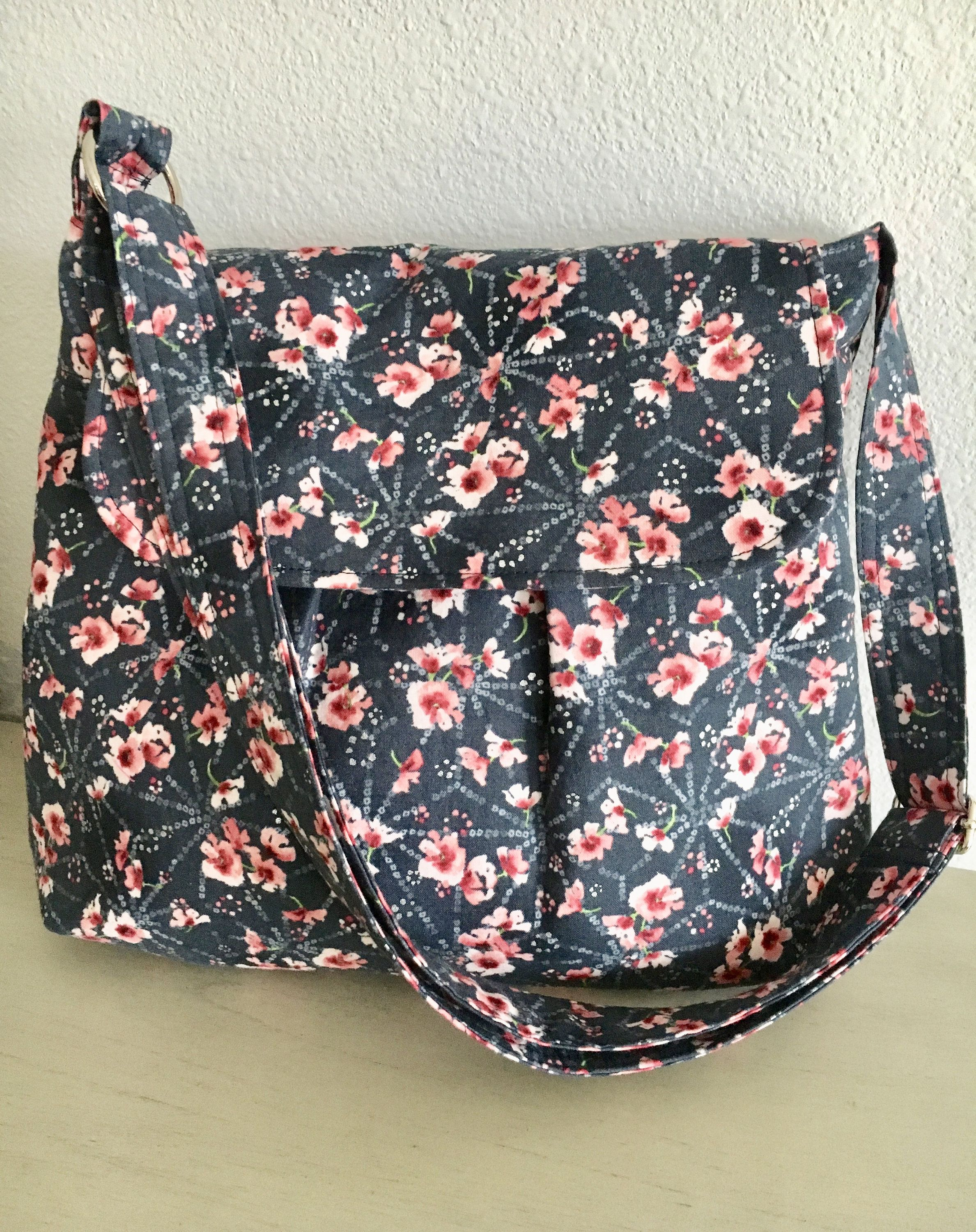 2e7d3cb34c74 Crossbody Purse in Blue with Pink Flowers