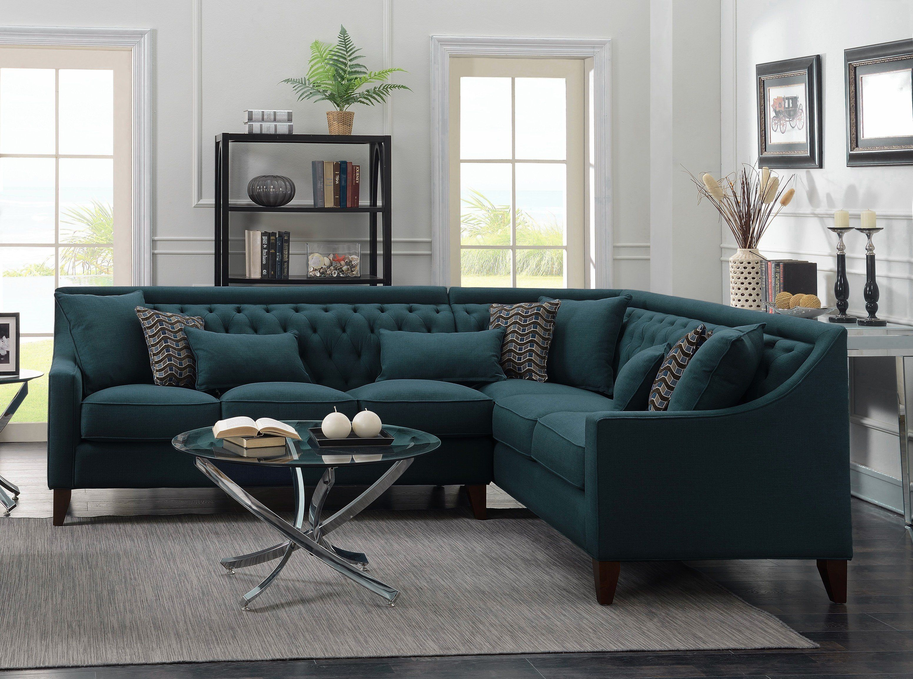 Iconic Home Aberdeen Linen Tufted Right Facing Sectional Sofa Teal Contemporary Sectional Sofa Contemporary Home Decor Contemporary Sectional