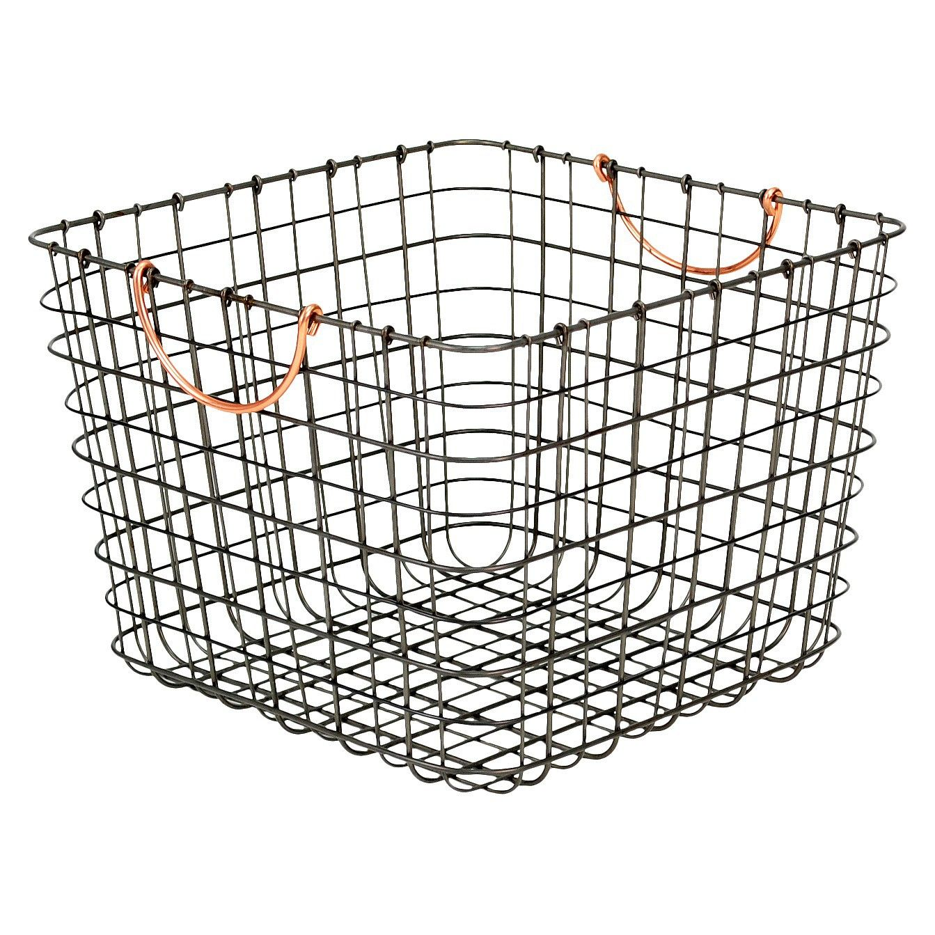 Large Milk Crate Wire Storage Bin - Antique Pewter with Copper ...