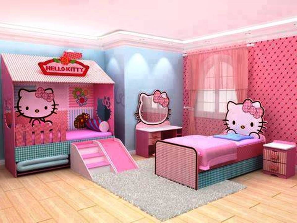 Hello kitty bedroom designs for girls - Incredible Girls Bedroom Hello Kitty Decorating With Recessed Lighting And Grey Large Rugs Also Using Curtains