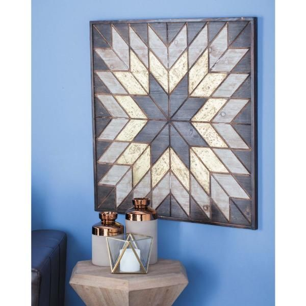 Litton Lane 31 in. x 32 in. Yellow and Brown Wooden Snowflake Wall Decor 98726 - The Home Depot