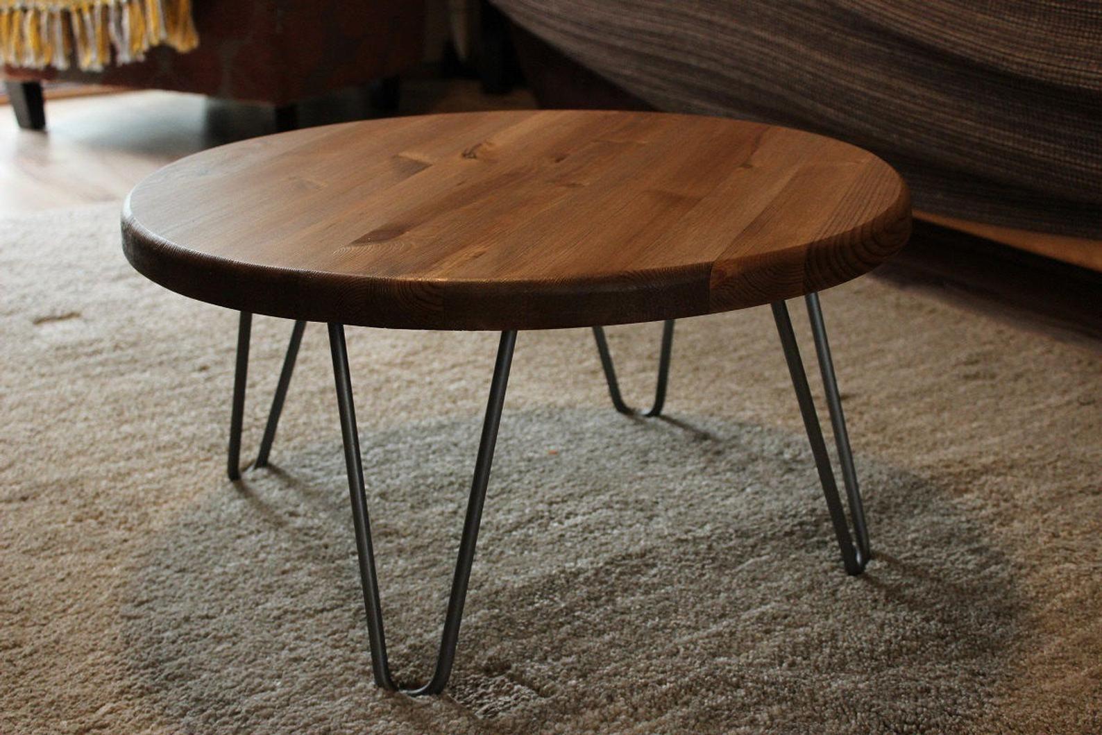 Rustic Vintage Industrial Wood Round Coffee Table Metal Etsy Round Wood Coffee Table Coffee Table Wood Round Metal Coffee Table