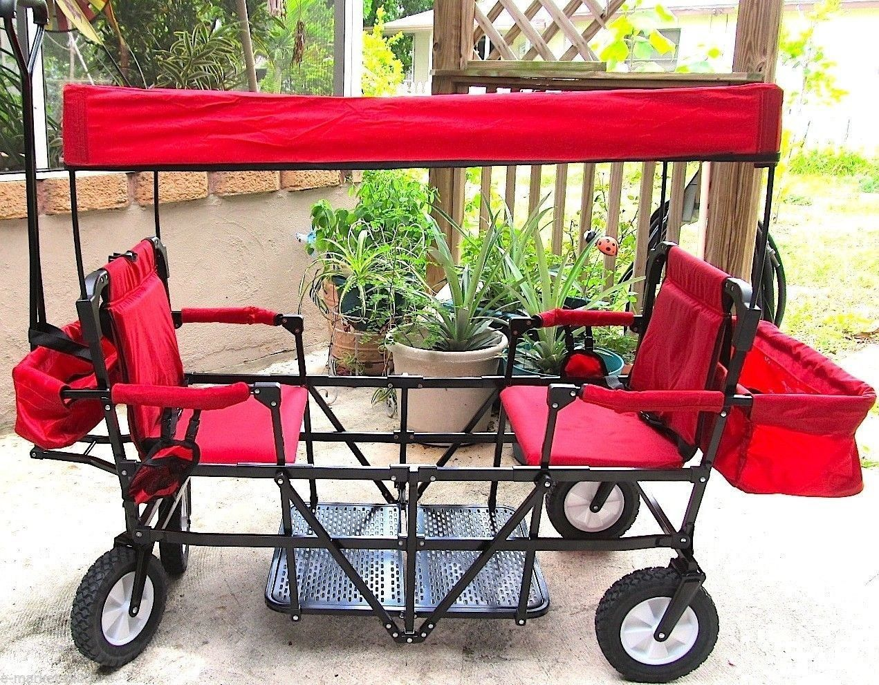 Double Seat 2 Seater Folding Red Wagon With Canopy 900141
