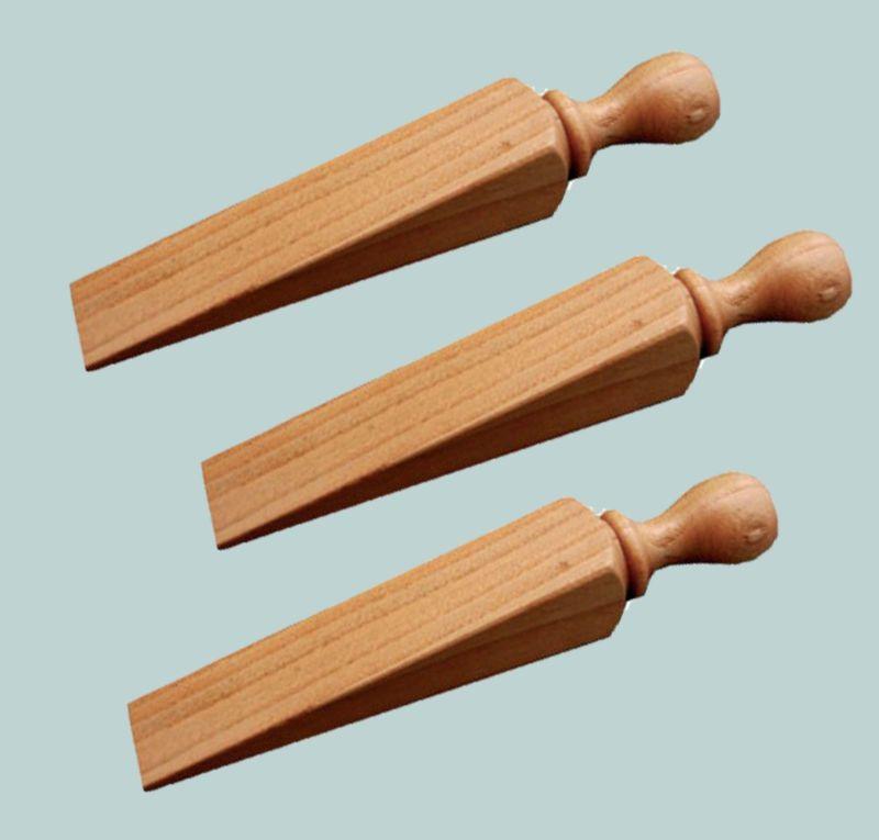 Wooden Door Jam Stop Stopper Wedge 130mm Solid Beech Varnished ...