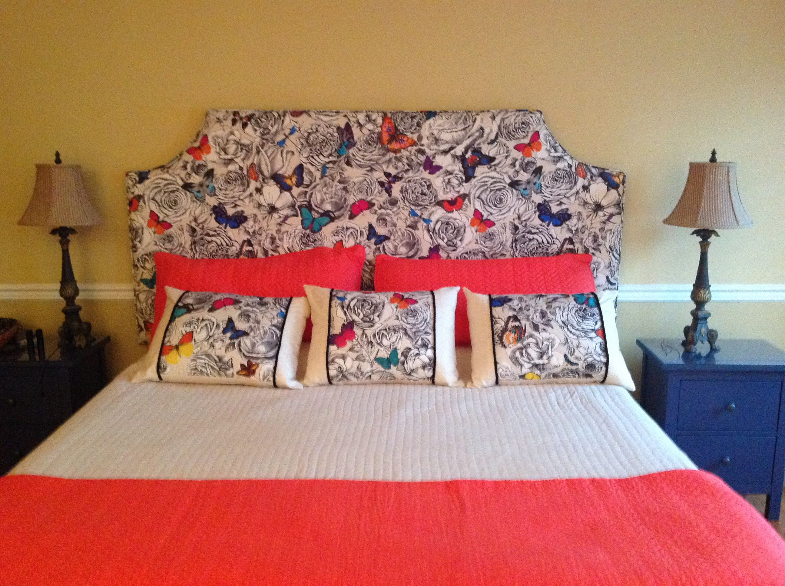 I Upholstered My Headboard Using Osborne And Little Fabric, Butterfly Garden.  Love This Fabric