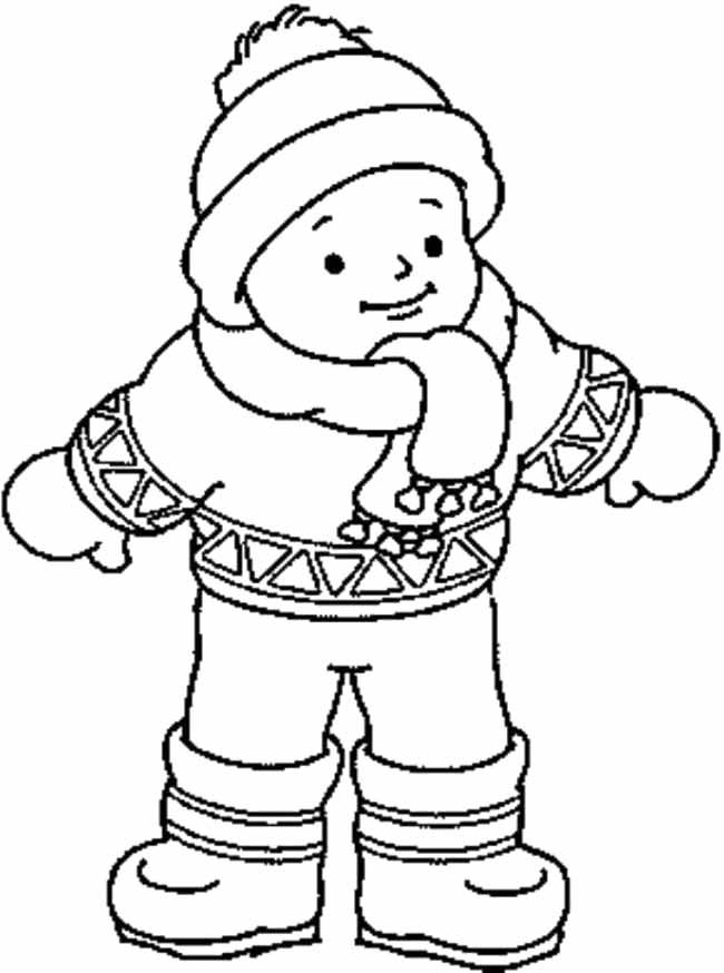 A Man Wearing Thick Winter Clothes Coloring Pages