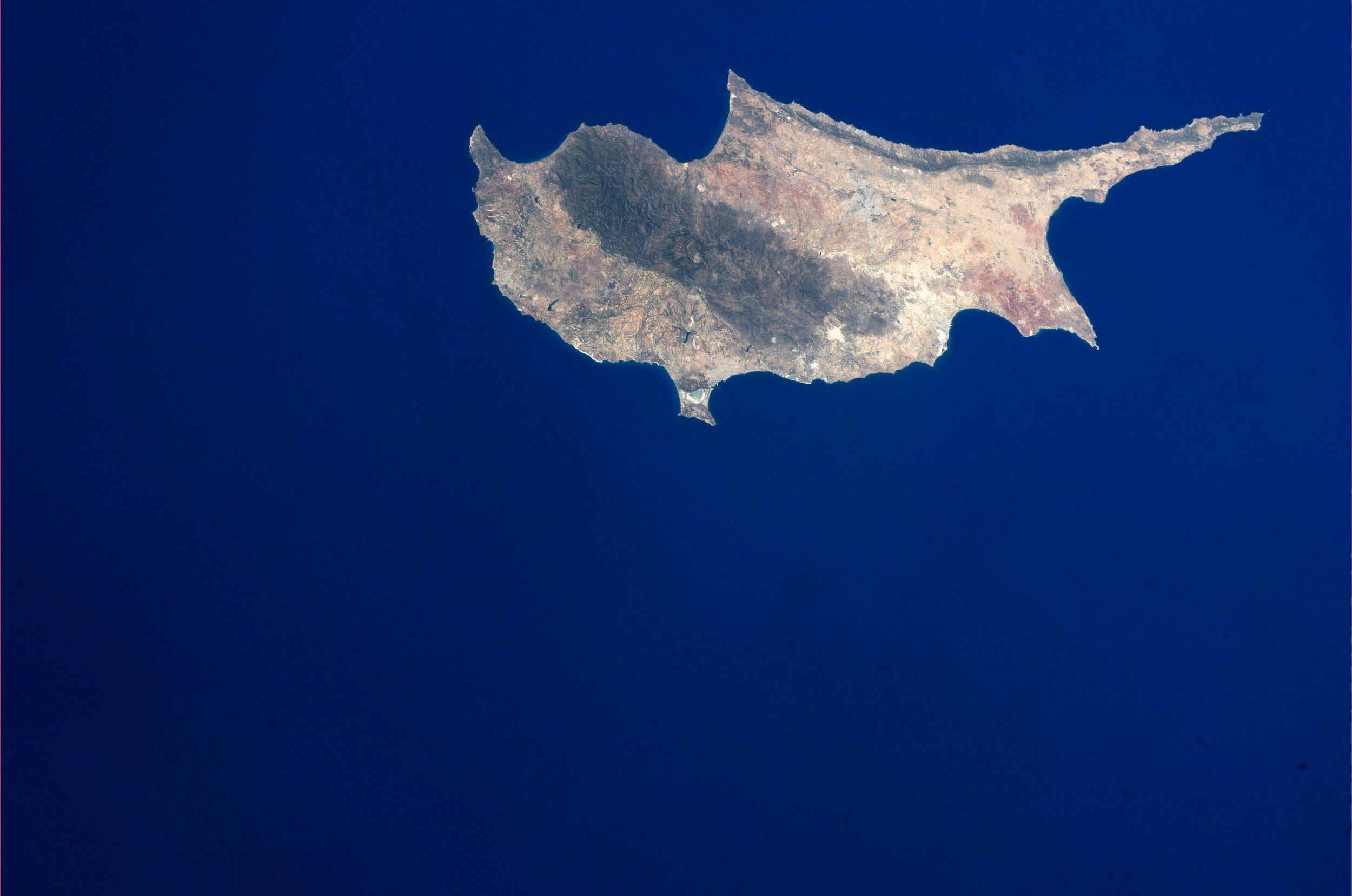 Cyprus.  Taken September 10, 2013.  KN from space.