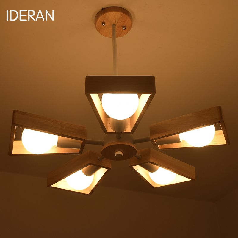 IDERAN Newest Art Deco Vintage E27 pendant light lamp wooden