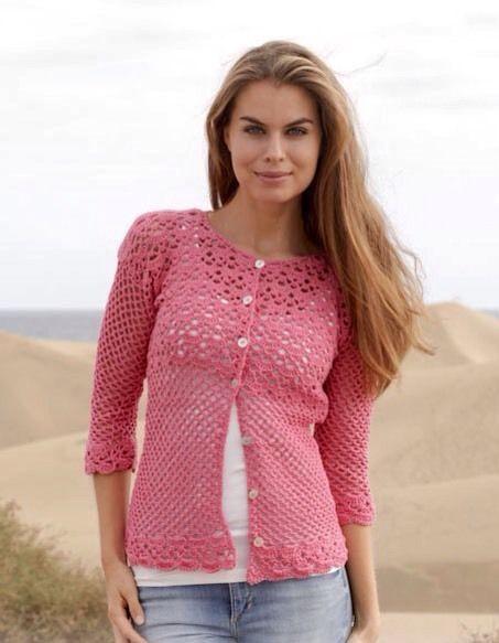 Crochet Pattern Ladies 34 Sleeve Short Cardigan Giza Cotton 4ply
