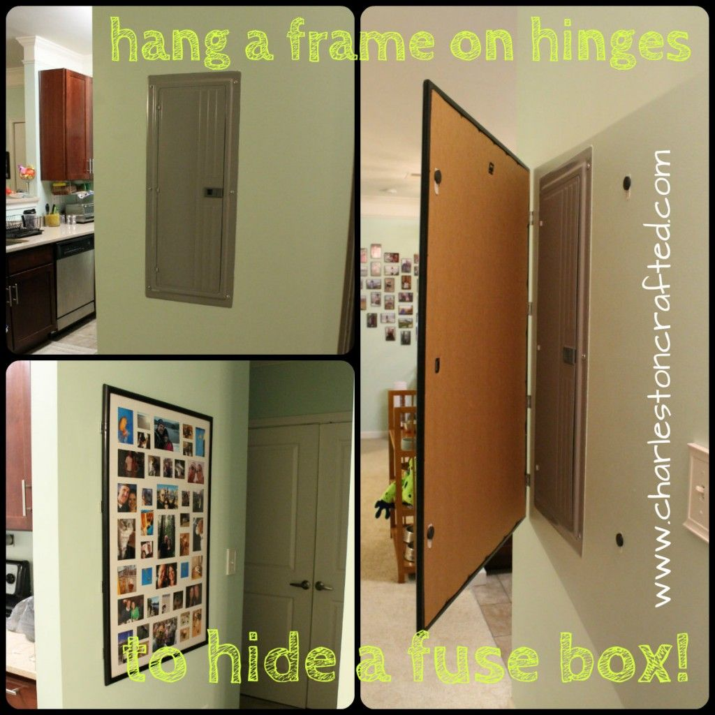 now you see it now you don t the office the guest and laundry how to hide a fuse box by hanging a frame on hinges charleston crafted