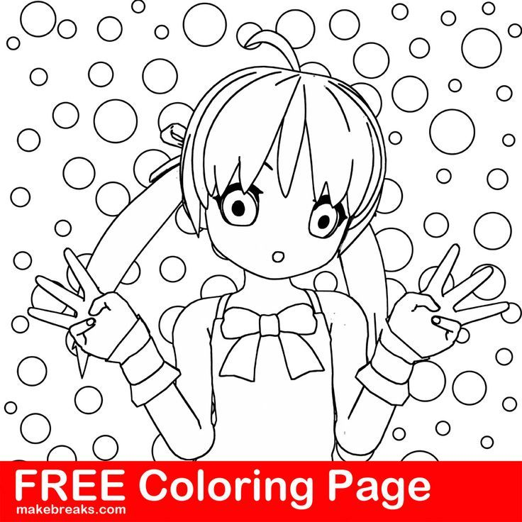Free Coloring Page Anime Style Girl Bubbles Background Rhpinterest: Anime Style Coloring Pages At Baymontmadison.com