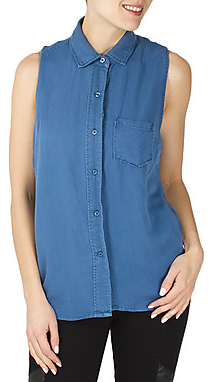button upped sleeveless top