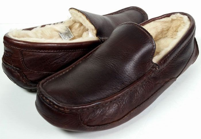 26989c8d79b UGGS SLIPPER SIZE 9 Men's Ugg Ascot Slipper Brown Leather Slippers ...