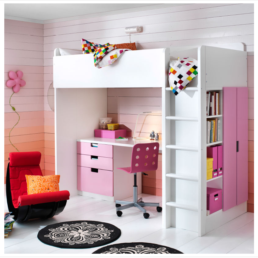 Loft bed (that could be in a black/white room) Ikea loft