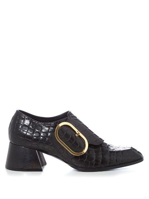 STELLA MCCARTNEY Oversized-Buckle Faux-Crocodile Pumps. #stellamccartney #shoes #pumps