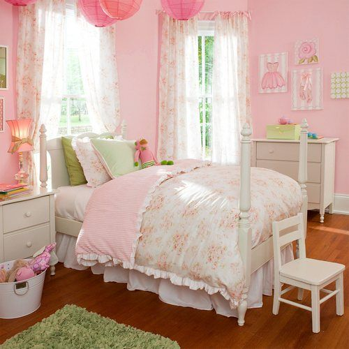 Shabby Chenille Kids Bedding | Little Girl's Kids Bedding in Vintage Floral | Carousel Designs