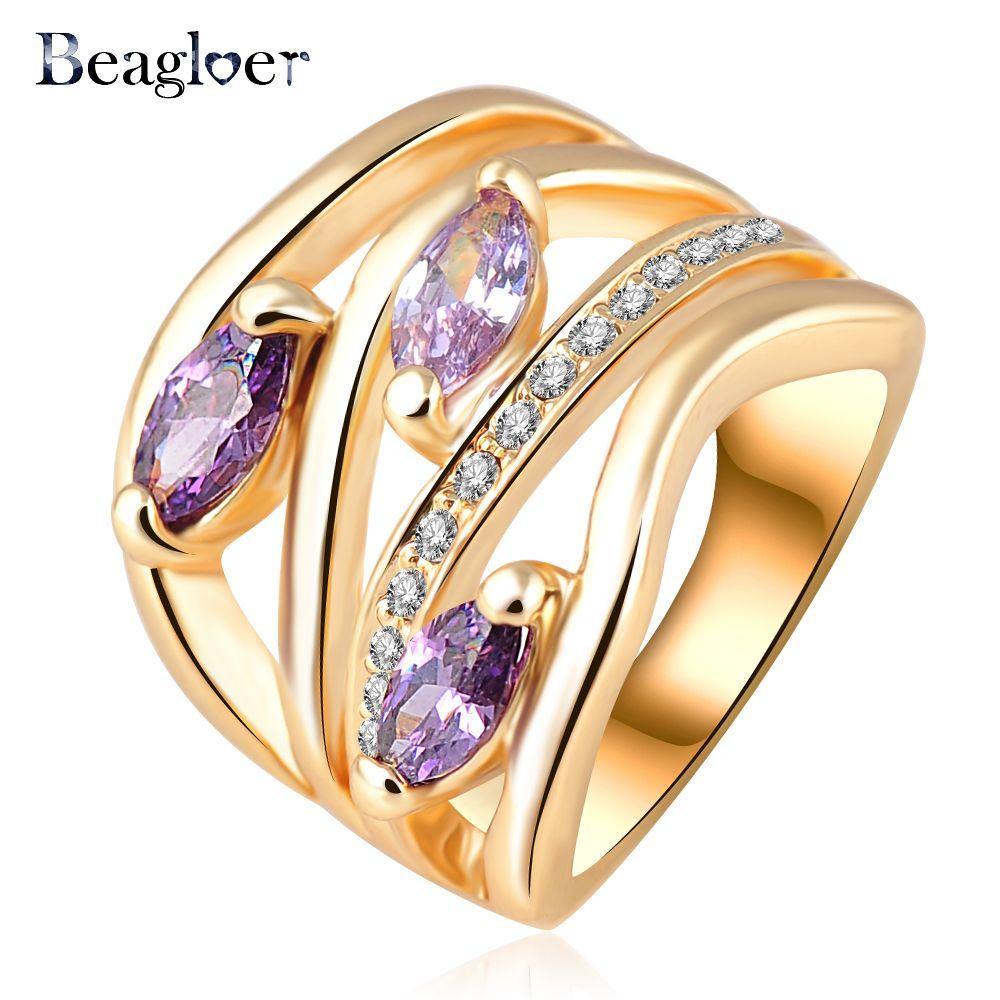 Beagloer 최신 독특한 다층 약혼 반지 정품 골드 도금 헬기 오스트리아 크리스탈 패션 보석 Ri-HQ0224