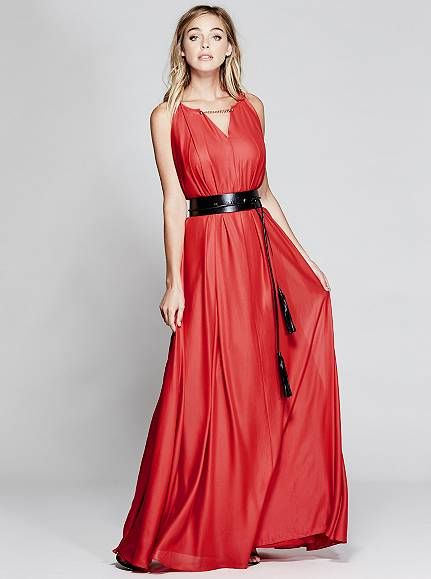 Chain-Neck Maxi Dress at Guess