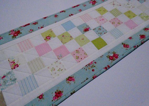Long Quilted Table Runner Pastel Fl Quilt Bedroom Dresser Aqua