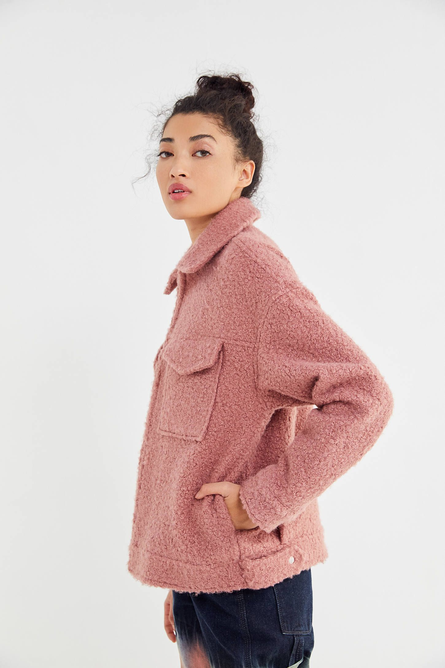 Uo Teddy Zip Front Trucker Jacket Urban Outfitters Cool Sweaters Women S Coats Jackets Patagonia Better Sweater [ 2175 x 1450 Pixel ]