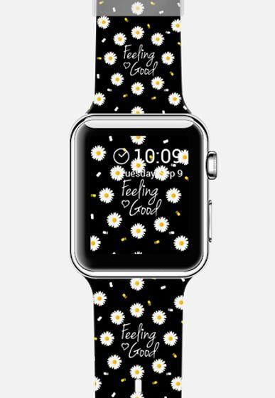 Girly daisy flowers feeling good typography brushstrokes