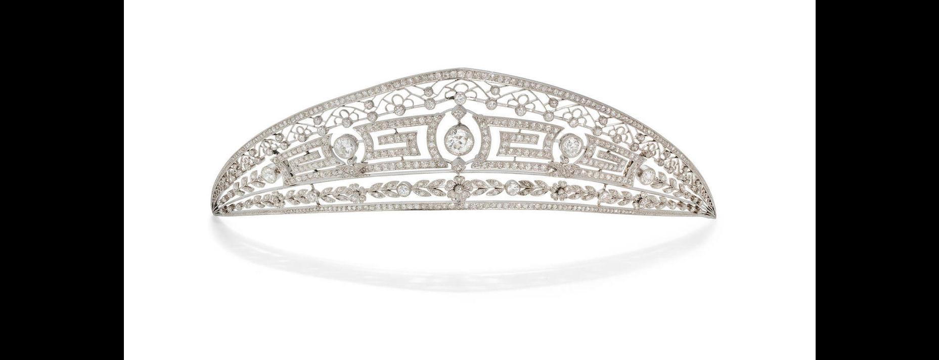 The top tiara of the 1900 'double diamond' Ansorena tiara