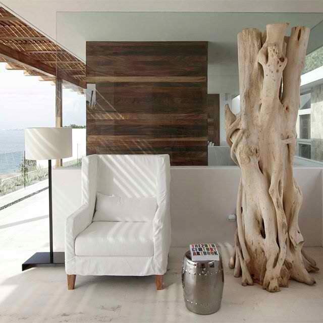 Modern Rustic Beach Decor Wood Slat Wall Driftwood Glass Simple Lines Shiny Metallic Accents Casa Almare By Elias Rizo Arquitectos