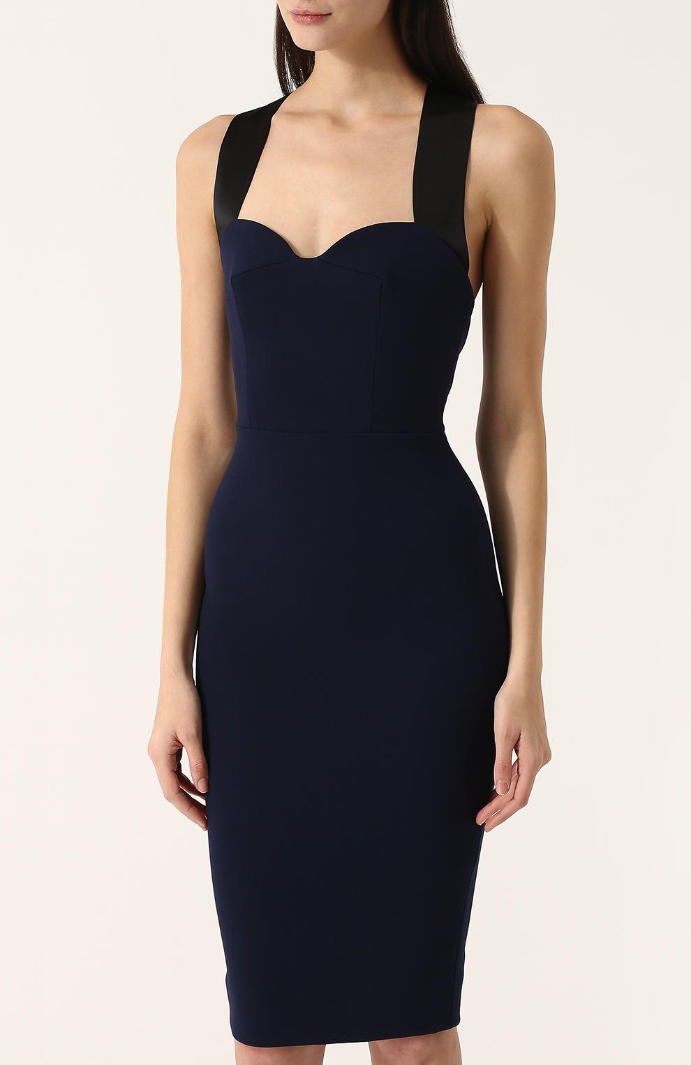 8ae8edebf4aab36 Женское темно-синее платье-футляр с широкими лямками Victoria Beckham,  сезон SS 2018, арт. DR FIT 6337 PSS18 MATT CREPE купить в ЦУМ | Фото №3