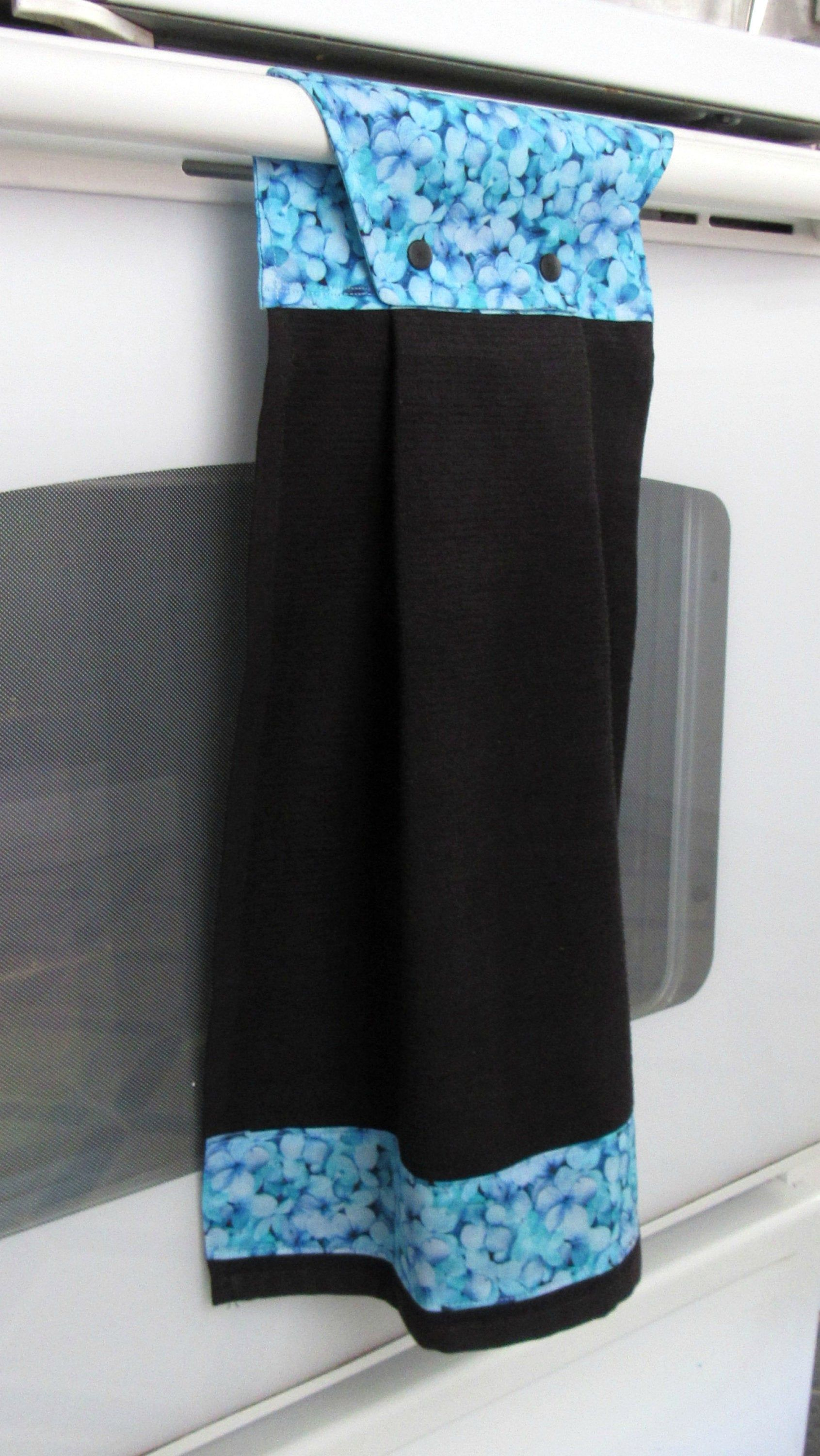 Hanging Kitchen Towel Black Cotton Towel Accented With Blue And