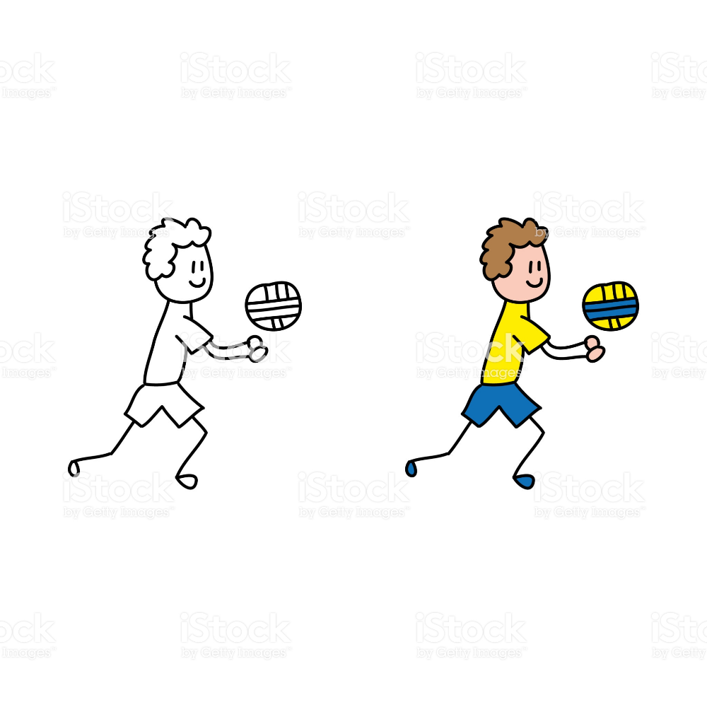 Cartoon Drawing Of A Man Playing Volleyball Cartoon Drawings Free Vector Art Illustration