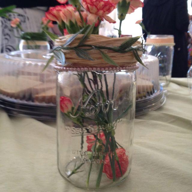 Mason jar decor with flowers