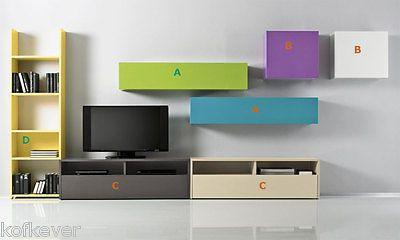 Mobili Componibili Soggiorno : Composizione soggiorno porta tv libreria pensile moderno mobili