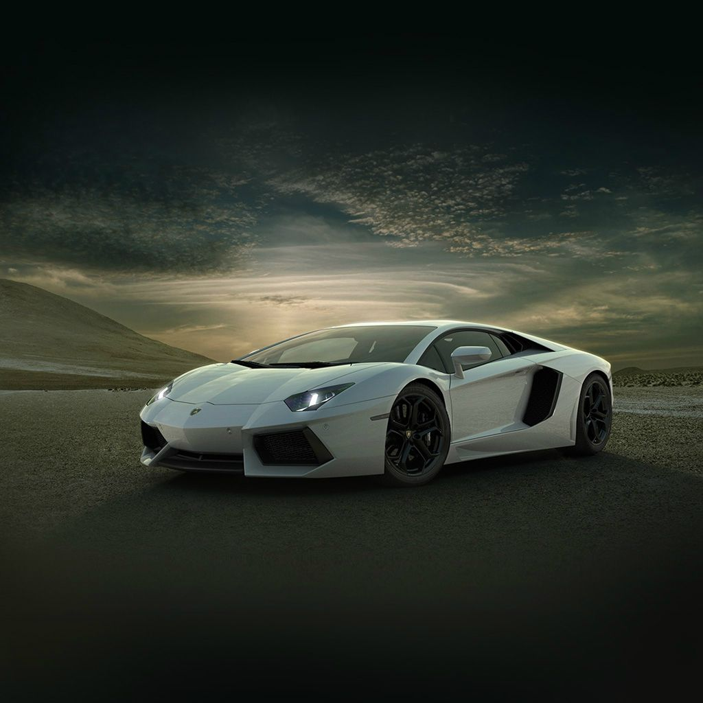 Lamborghini Car Exotic White Art Ipad Wallpaper