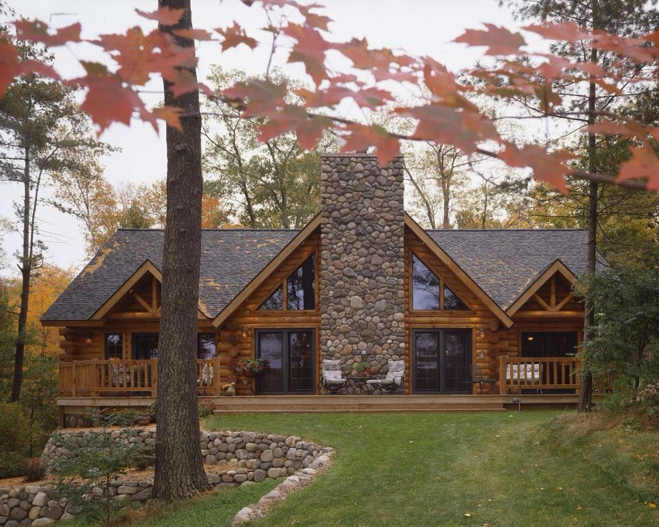 Log Home With Stone Chimney Log Homes Log Home Plans House In The Woods