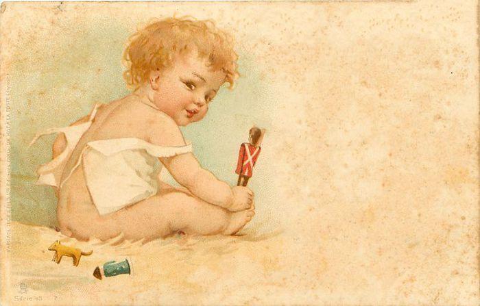 Старые открытки с малышами, открытка