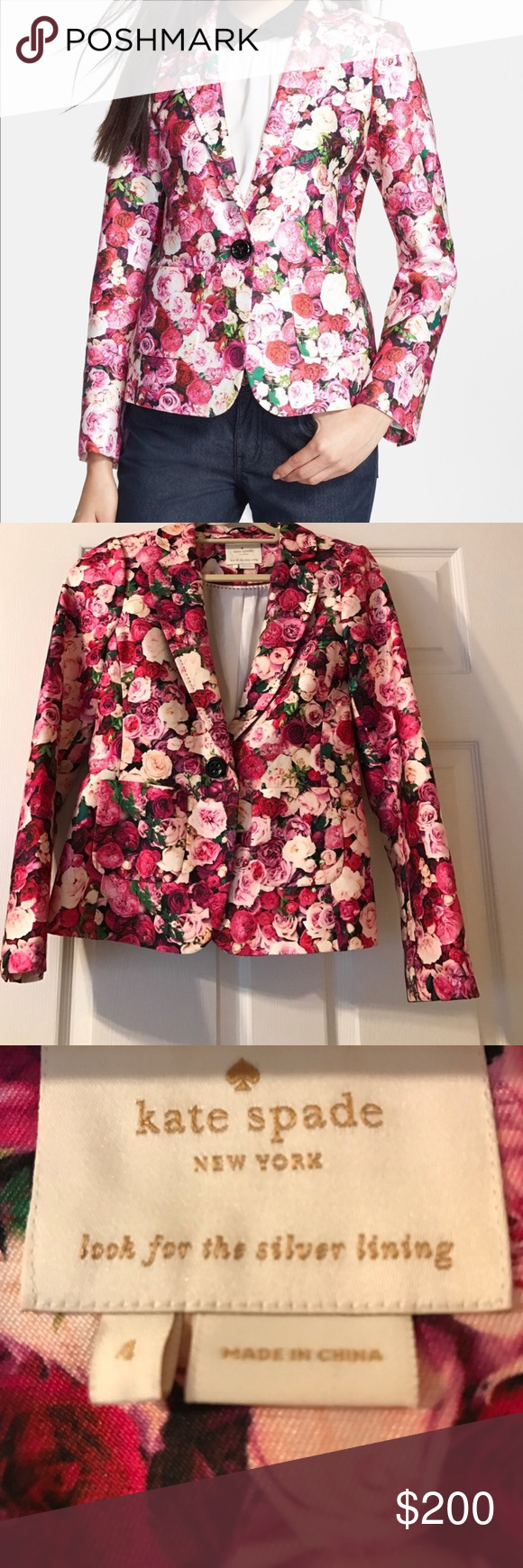485ae498 Kate spade Millie blazer Beautiful rose print blazer with hand stitching.  Most famous kate spade collection. In excellent condition.