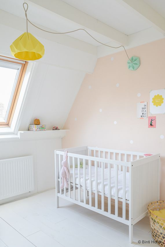 Pastel nursery under the eaves. Love the hanging lamp