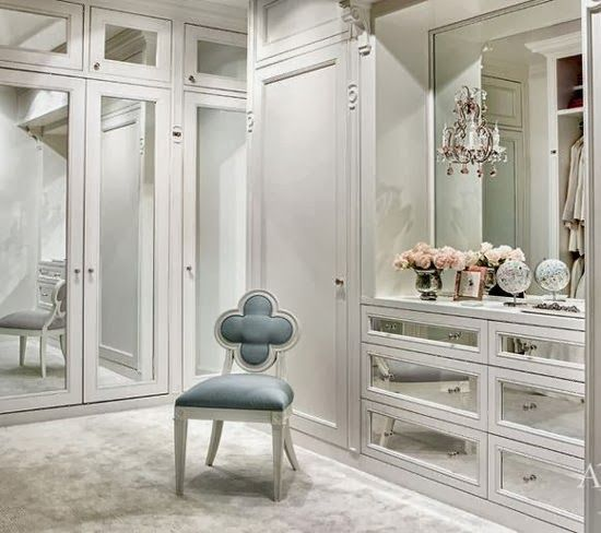 Charming Luminous Walk In Closet With Mirrored Armoires