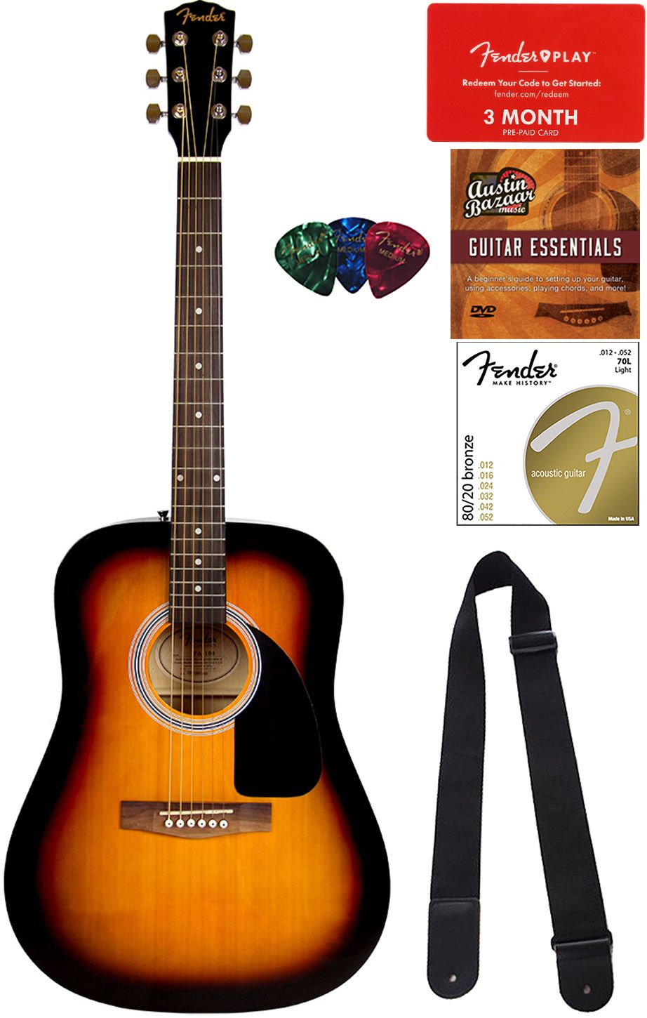 Details About Fender Fa 115 Dreadnought Acoustic Guitar Sunburst W Fender Play Online Lessons With Images Guitar