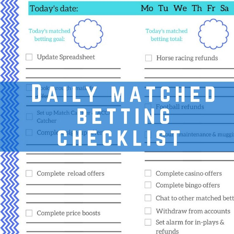 Free Matched Betting Daily Checklist Printable Daily checklist