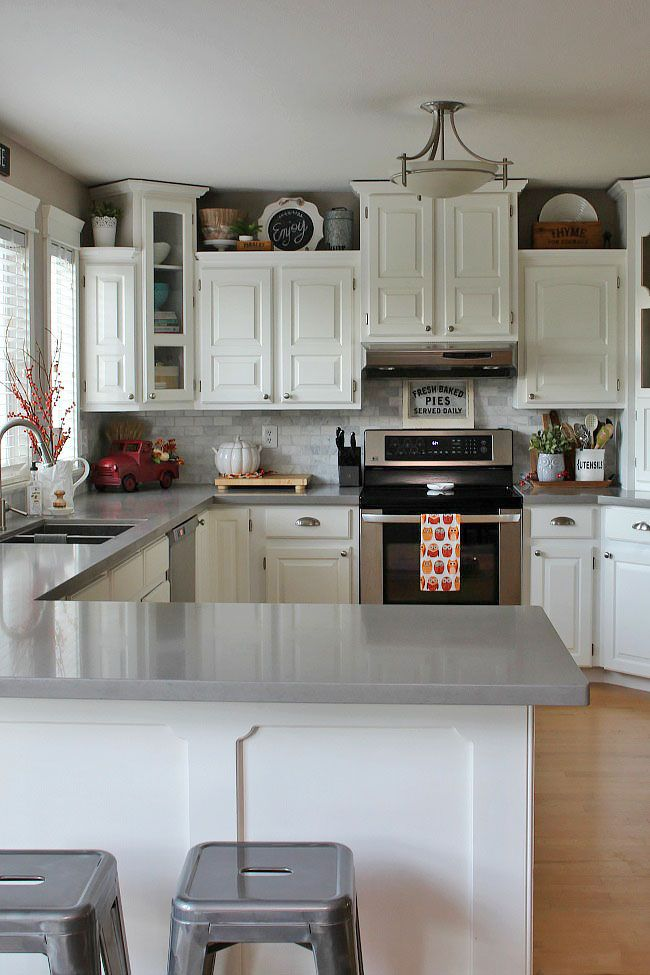 Cozy Fall Home Tour | Kitchen countertop decor, Kitchen ...