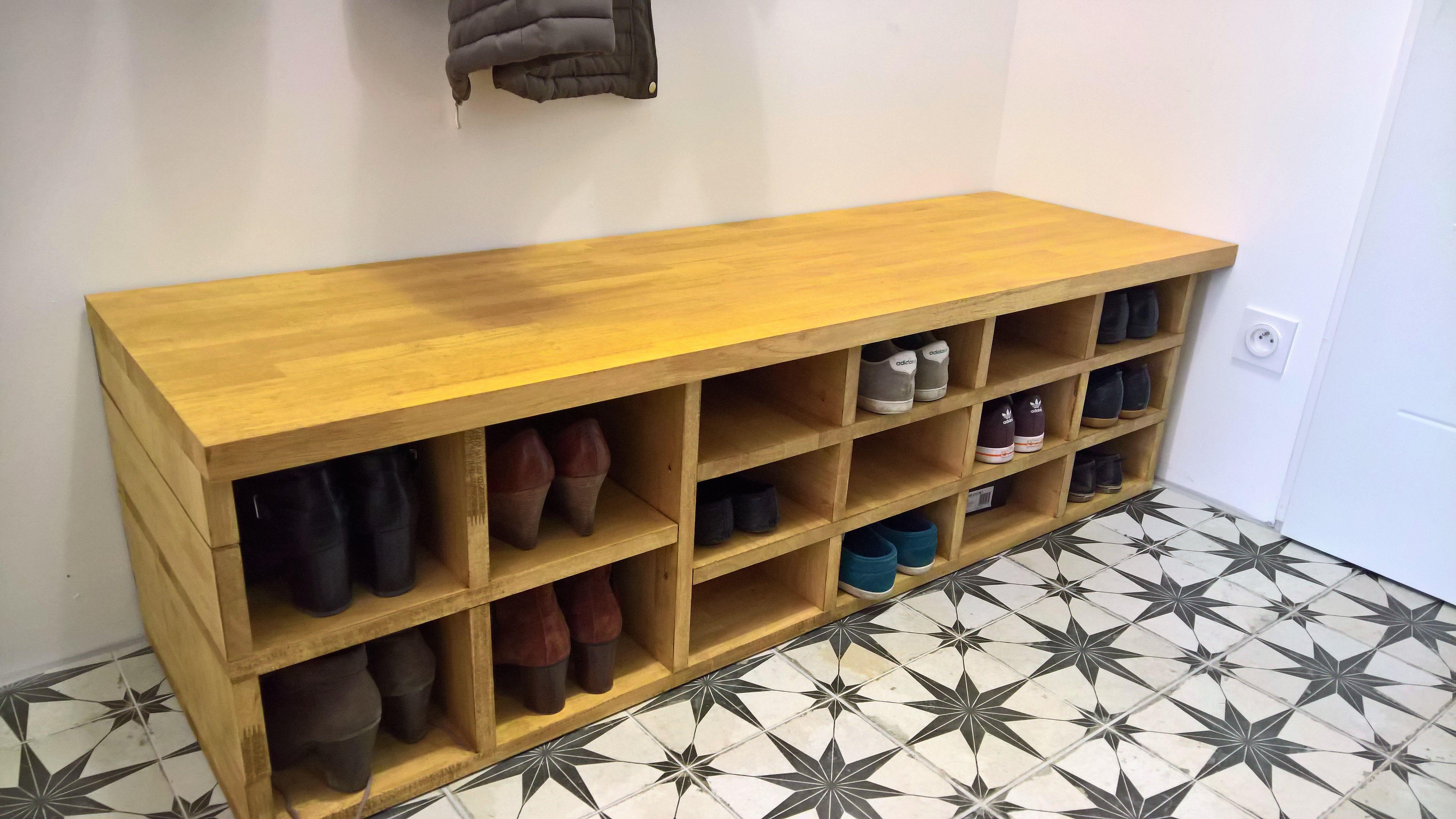 Banc, meuble à chaussures, casiers, rangements Bois, Hévéa ...