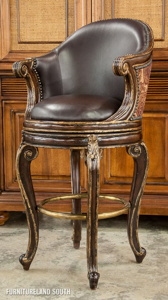 Marge Carson Bourdeaux Brown Leather Swivel Barstool Bar Stools Kitchen Wine Decor