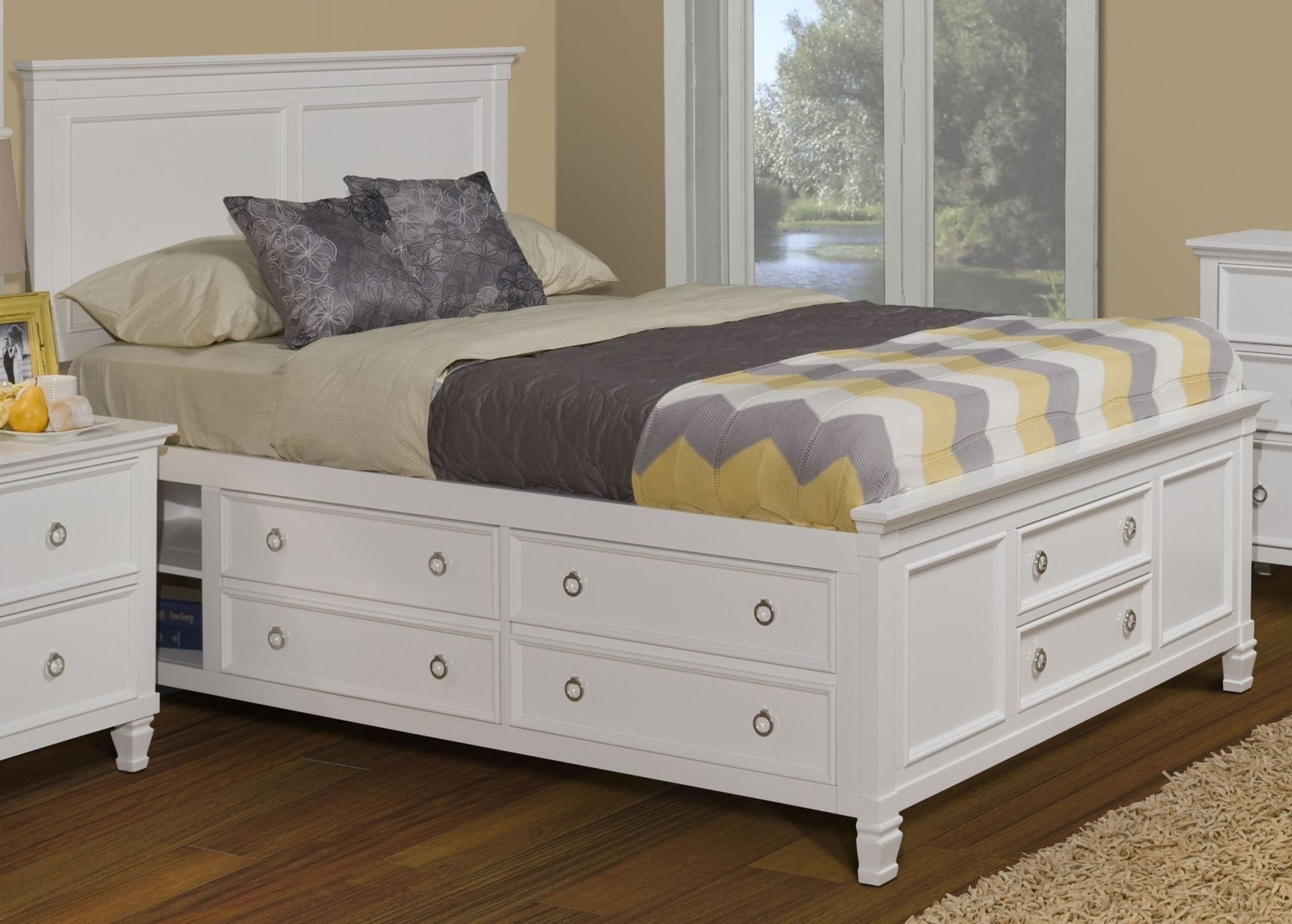 Tamarack White King Platform Storage Bed